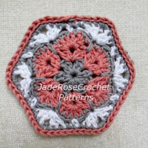 Free African Flower Hexagon Coaster Pattern