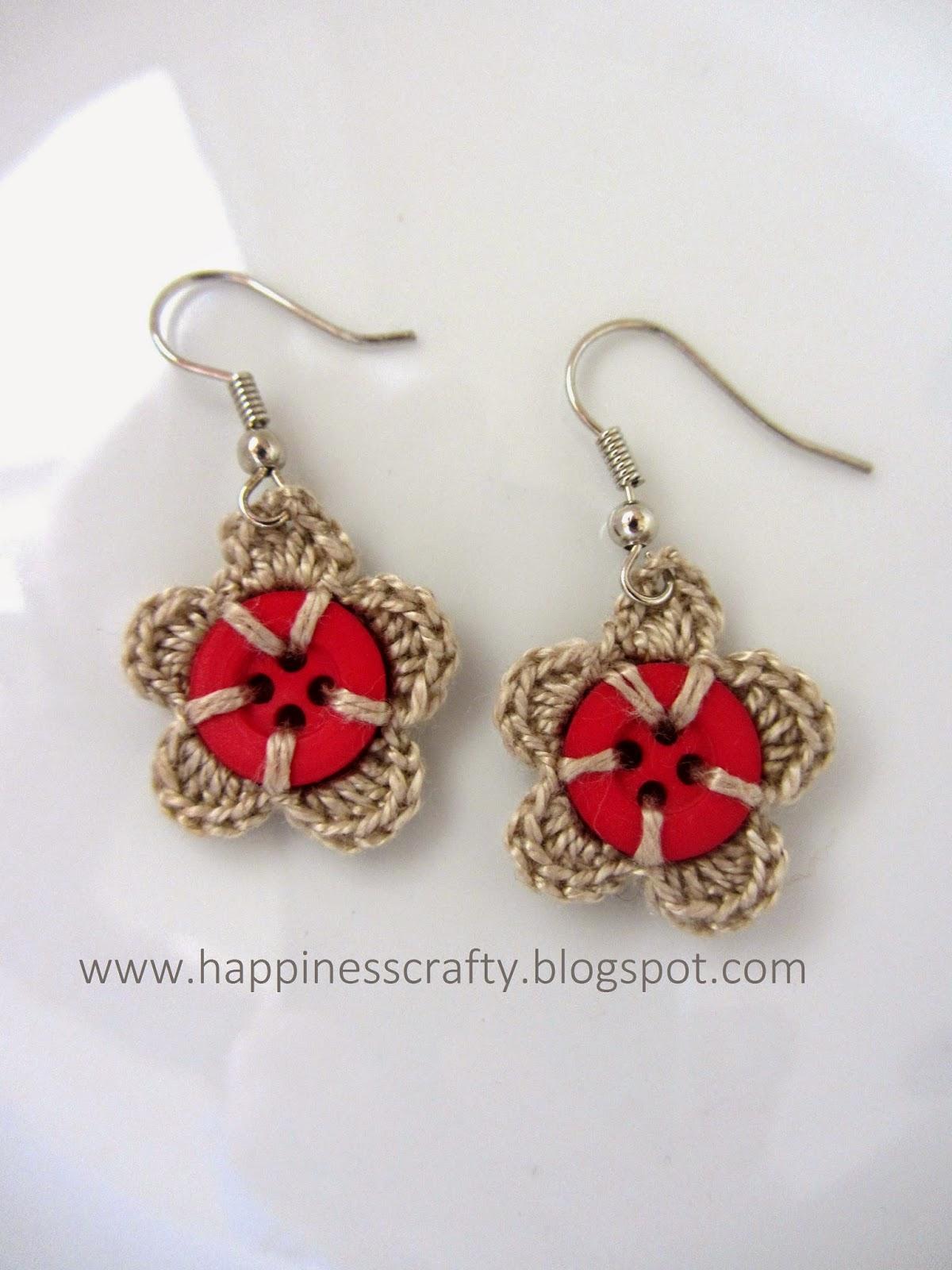 201463 Crochet Flower And Button Earrings Uk Crochet Patterns
